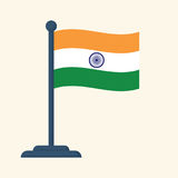 Bandeira da Índia isolada no fundo branco Imagens de Stock Royalty Free