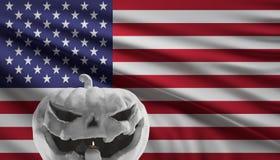 Bandeira da abóbora de Dia das Bruxas de América 3d-illustration ilustração royalty free