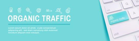 Bandeira da busca e do SEO Web Header Hero Image com crescimento, busca, & grupo orgânicos do ícone das ideias da localidade ilustração stock