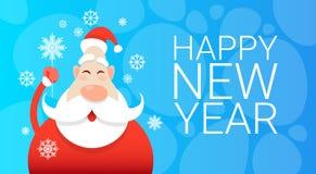Bandeira da celebração do cartão do ano de Santa Claus Christmas Holiday Happy New Foto de Stock Royalty Free