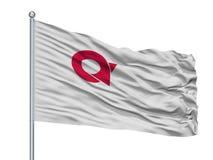 Bandeira da cidade de Ayabe no mastro de bandeira, Japão, prefeitura de Kyoto, isolada no fundo branco ilustração stock
