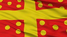 Bandeira da cidade de Harelbeke, Bélgica, opinião do close up Ilustração Royalty Free