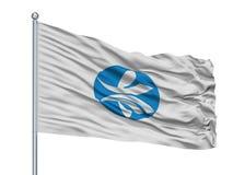 Bandeira da cidade de Kizugawa no mastro de bandeira, Japão, prefeitura de Kyoto, isolada no fundo branco ilustração stock
