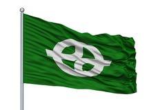 Bandeira da cidade de Kyotanabe no mastro de bandeira, Japão, prefeitura de Kyoto, isolada no fundo branco ilustração royalty free