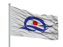 Bandeira da cidade de Kyotango no mastro de bandeira, Japão, prefeitura de Kyoto, isolada no fundo branco ilustração stock