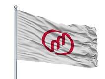 Bandeira da cidade de Miyazu no mastro de bandeira, Japão, prefeitura de Kyoto, isolada no fundo branco ilustração royalty free
