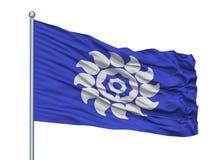 Bandeira da cidade de Muko no mastro de bandeira, Japão, prefeitura de Kyoto, isolada no fundo branco ilustração stock