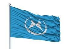 Bandeira da cidade de Yawata no mastro de bandeira, Japão, prefeitura de Kyoto, isolada no fundo branco ilustração stock