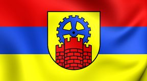 Bandeira da cidade de Zabrze, Polônia Foto de Stock Royalty Free