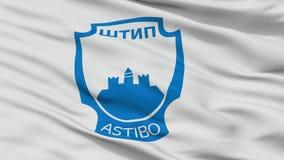 Bandeira da cidade da municipalidade de Stip, Macedônia, opinião do close up imagens de stock royalty free