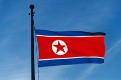 Bandeira da Coreia do Norte Fotografia de Stock