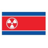 Bandeira da Coreia do Norte com sinal nuclear Ilustração do vetor ilustração stock