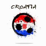 Bandeira da Croácia como uma bola de futebol abstrata fotografia de stock royalty free