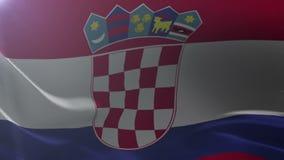 Bandeira da Croácia que acena no mastro de bandeira no vento, símbolo nacional da liberdade ilustração royalty free