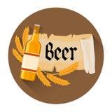 Bandeira da decoração do feriado do festival de Oktoberfest da garrafa de cerveja Fotos de Stock Royalty Free