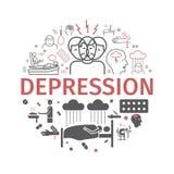 Bandeira da depressão Sintomas de Infographic, tratamento Linha ícones ajustados Ilustração do vetor ilustração stock