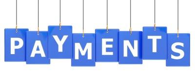 Bandeira da etiqueta dos pagamentos ilustração royalty free