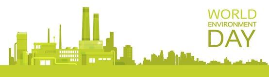 Bandeira da fábrica do dia de ambiente de mundo da planta verde da silhueta Fotos de Stock Royalty Free