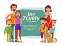 Bandeira da família Povos, pais e crianças felizes Ilustração do vetor dos desenhos animados ilustração do vetor