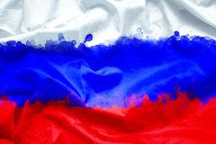 Bandeira da Federação Russa de Rússia pela escova de pintura da aquarela na tela da lona, estilo do grunge Fotos de Stock Royalty Free