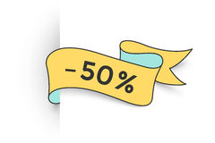 Bandeira da fita com texto 50 por cento para o disconto Foto de Stock