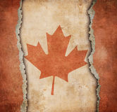 A bandeira da folha de bordo de Canadá no papel rasgado Foto de Stock Royalty Free