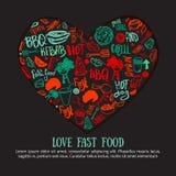 Bandeira da garatuja do fast food na forma do coração Grupo desenhado à mão com os acessórios do assado, rotulando a ilustração d ilustração royalty free