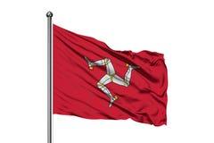 Bandeira da ilha do homem que acena no vento, fundo branco isolado imagens de stock royalty free