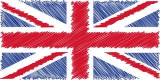 Bandeira da ilustração inglesa do vetor do desenho de lápis Union Jack Utilização para trabalhos da decoração Imagens de Stock Royalty Free