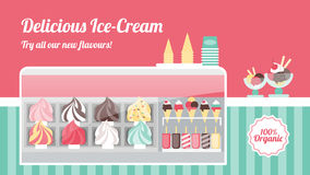 Bandeira da loja de gelado ilustração do vetor