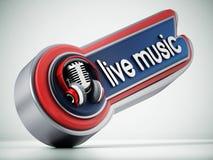 Bandeira da música ao vivo com microfone do vintage ilustração 3D Fotografia de Stock Royalty Free