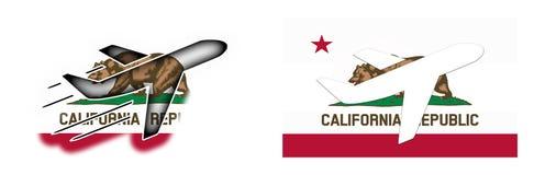 Bandeira da nação - avião - Califórnia Fotografia de Stock Royalty Free