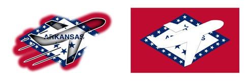 Bandeira da nação - avião isolado - Arkansas Imagem de Stock Royalty Free