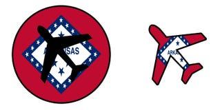 Bandeira da nação - avião isolado - Arkansas Foto de Stock