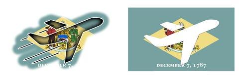 Bandeira da nação - avião isolado - Delaware Fotos de Stock Royalty Free