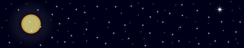Bandeira da noite com estrelas e lua na obscuridade - cor azul ilustração royalty free