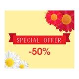Bandeira da oferta especial com as flores vermelhas e brancas realísticas Bandeira da mola ou da venda do verão Até 50 por cento  ilustração royalty free