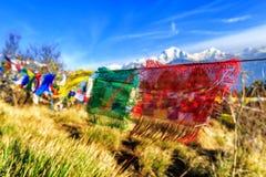 Bandeira da oração no monte de Poon em Nepal Fotos de Stock Royalty Free