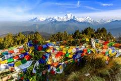 Bandeira da oração no monte de Poon em Nepal Imagem de Stock
