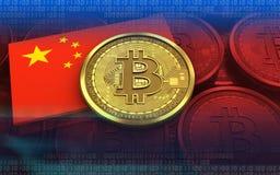 bandeira da porcelana do bitcoin 3d Fotos de Stock