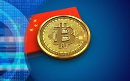 bandeira da porcelana do bitcoin 3d Ilustração do Vetor