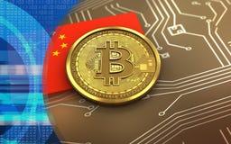 bandeira da porcelana do bitcoin 3d Fotografia de Stock Royalty Free