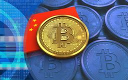 bandeira da porcelana do bitcoin 3d Imagens de Stock