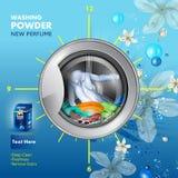 A bandeira da propaganda do removedor da mancha e da sujeira pulveriza o detergente para a roupa para o pano limpo e fresco ilustração do vetor