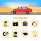 Bandeira da propaganda do serviço do carro Tipos de serviço diferentes ilustração stock