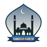 Bandeira da ramadã com silhueta da mesquita e a lua nova Imagem de Stock Royalty Free