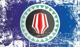 Bandeira da região autônoma de Bougainville, Papuásia-Nova Guiné Pontos sujos enrugados ilustração stock
