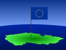 Bandeira da república checa e da UE Imagens de Stock Royalty Free