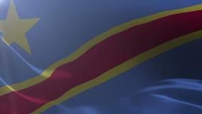 Bandeira da República Democrática do Congo Democrática que acena no vento, símbolo nacional da liberdade ilustração stock