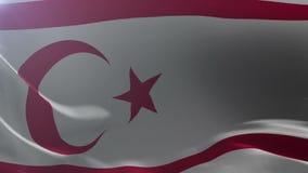 Bandeira da república turca de Chipre do norte que acena, símbolo nacional da liberdade ilustração do vetor